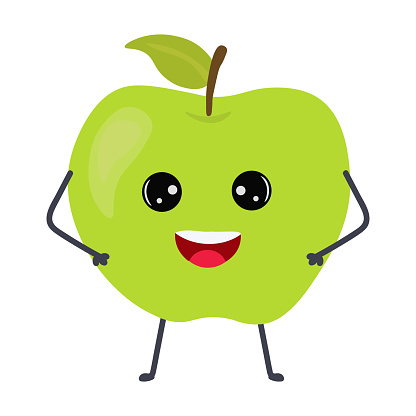 Cartoon apple with cute face. Illustration with funny and healthy food. Isolated on white background. Vegan concept