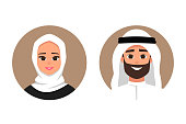 Cartoon Arab man and woman avatars happy emotion. smiling face of a successful young Arabic people flat style vector illustration of isolated layers on a white background