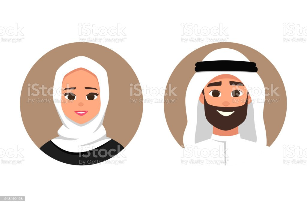Cartoon arab man and woman avatars happy emotion. vector art illustration