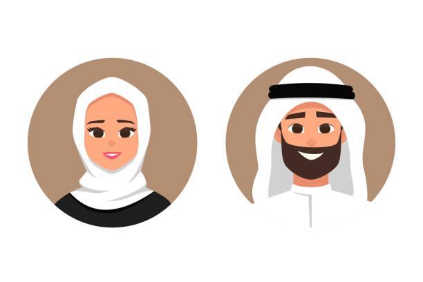 卡通阿拉伯男人和女人化身快樂的情感。 - emirati woman 幅插畫檔、美工圖案、卡通及圖標