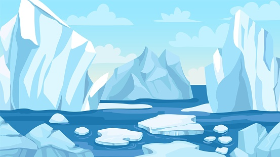 Cartoon arctic landscape. Icebergs, blue pure water glacier and icy cliff snow mountains. Greenland polar nature panoramic vector background