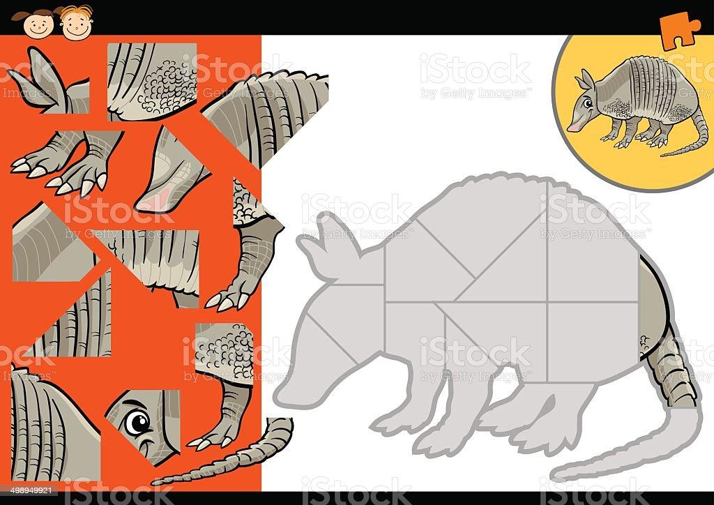 cartoon armadillo jigsaw puzzle game vector art illustration