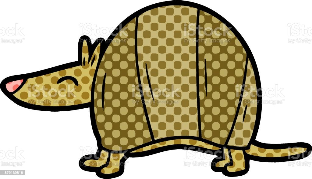 cartoon armadillo vector art illustration