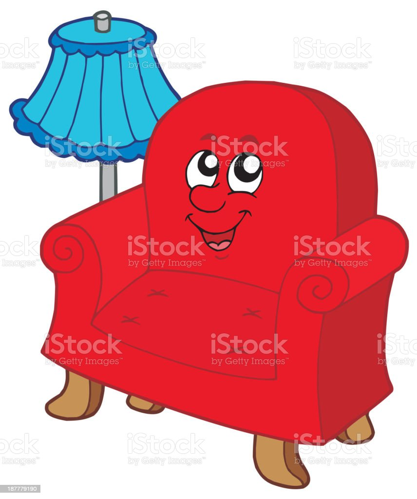 Cartoon armchair with lamp royalty-free cartoon armchair with lamp stock vector art & more images of anthropomorphic smiley face