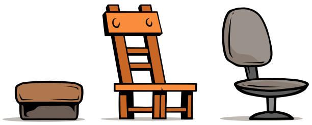 cartoon-sessel und stuhl aus holz set - stuhllehnen stock-grafiken, -clipart, -cartoons und -symbole