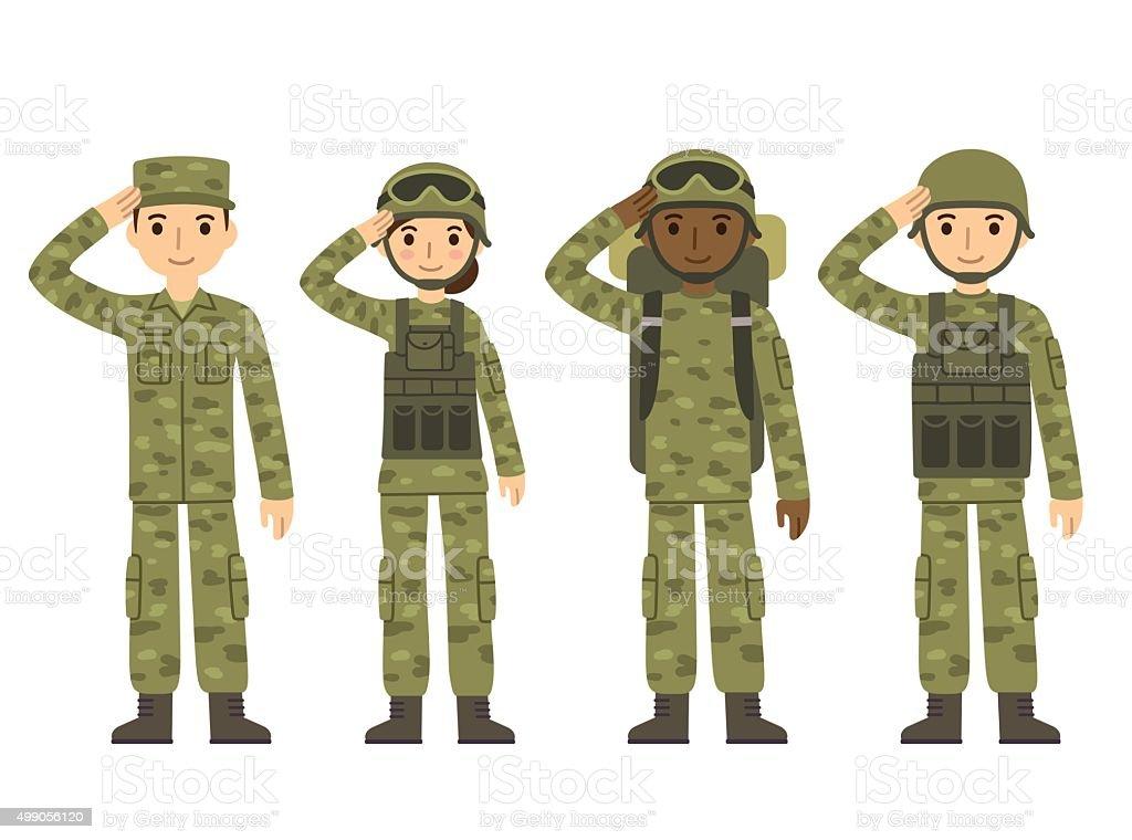 Character Design Courses Canada : Armée de dessin animé personnes stock vecteur libres