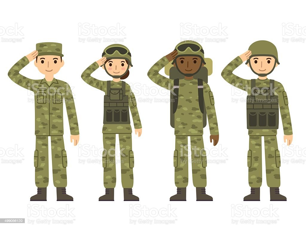 Cartoon army people vector art illustration