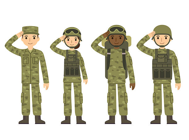 cartoon army people - army soldier stock illustrations, clip art, cartoons, & icons