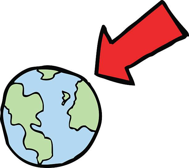 cartoon arrow pointing at earth vector art illustration