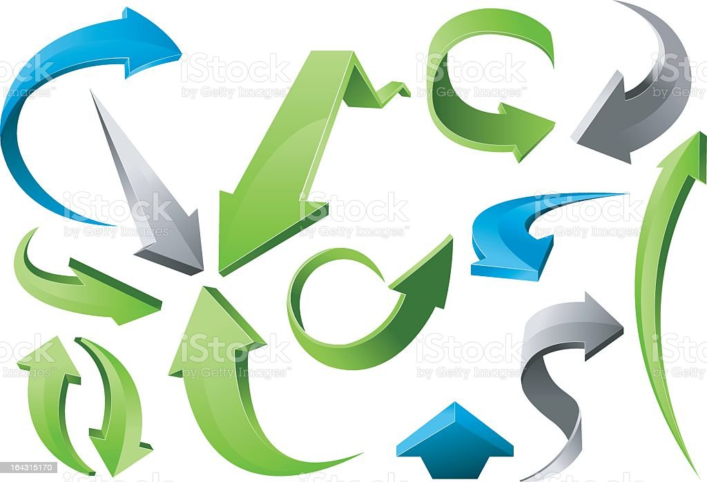 3D cartoon arrows pointing in different directions vector art illustration