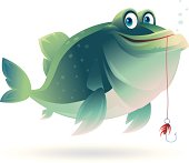 vector character of fish with fishing hook…