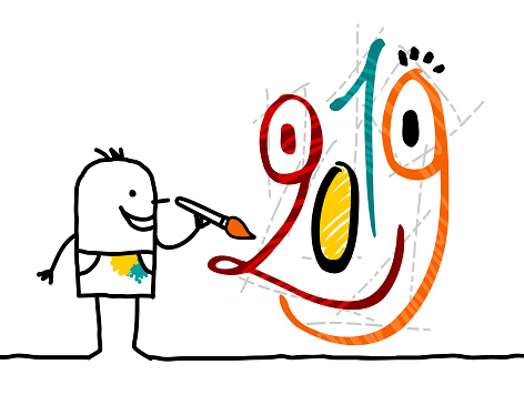 Karikatur Sanatcisi 2019 Komik Grafiti Yuz Boyama Stok Vektor