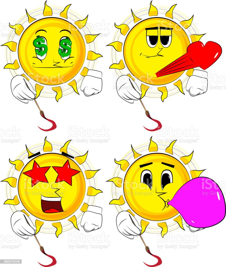 Karikatür Sanatçısı Güneş Boyama Stok Vektör Sanatı Animasyon