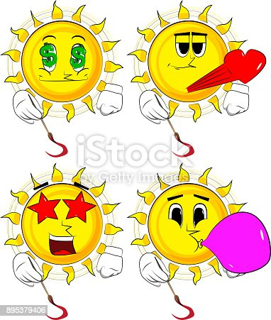 Cartoon artist sun painting. Collection with various facial expressions. Vector set.
