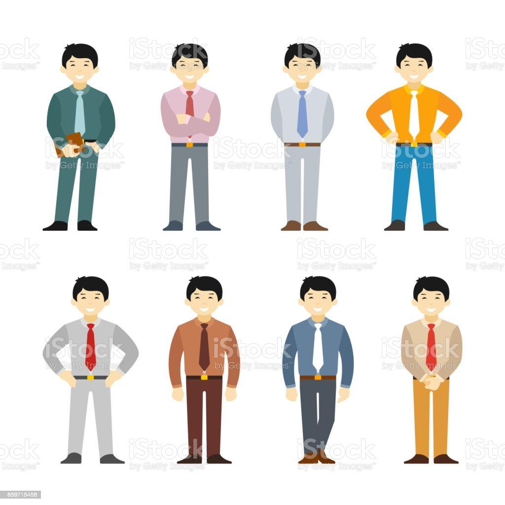 Dibujos animados hombre asiático en negocios traje estilo plano conjunto. Diferentes poses y ropa. - ilustración de arte vectorial