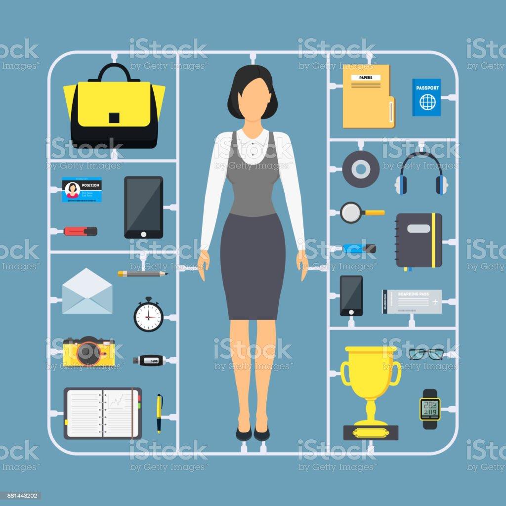 Cartoon Montieren Geschäftsfraufarbeiconset Vektor Stock