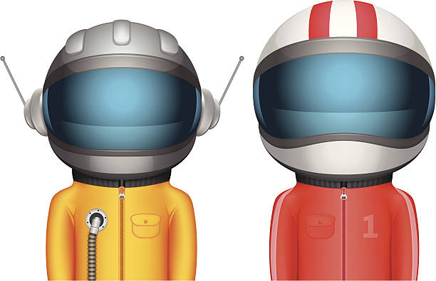 cartoon astronaut and racer characters - cartoon of a hazmat suit stock illustrations, clip art, cartoons, & icons