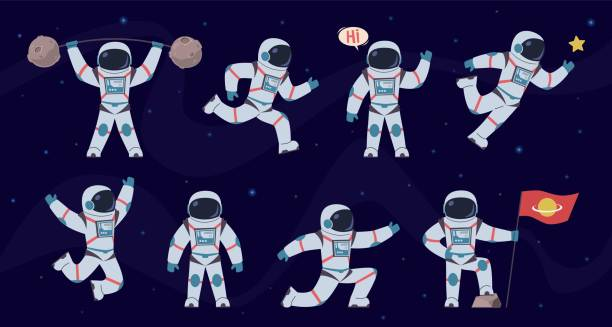Cartoon astronaut. Cosmonaut characters in different poses running, standing and walking, flying. Cosmic hero in space suit vector set Cartoon astronaut. Cosmonaut characters in different poses running, standing and walking, flying. Cosmic hero in space suit vector comics party spaceman set astronaut floating in space stock illustrations