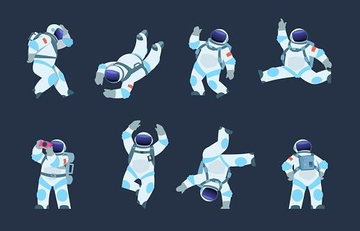 Cartoon astronaut. Dancing party cosmonaut, retro disco spaceman, comic space dancer. Vector astronaut in different poses