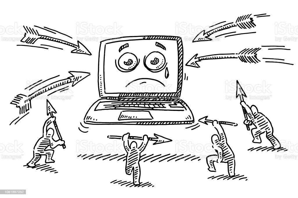 Vetores De Ataque Dos Desenhos Animados No Desenho De Computador