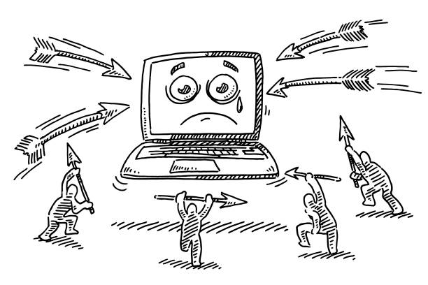 Cartoon Attack On Helpless Laptop Computer Drawing Hand-drawn vector drawing of a Cartoon Attack On a Helpless Laptop Computer. Black-and-White sketch on a transparent background (.eps-file). Included files are EPS (v10) and Hi-Res JPG. cartoon character figure stock illustrations