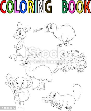 Ilustración de Libro Para Colorear Con Animales De Dibujos Animados ...