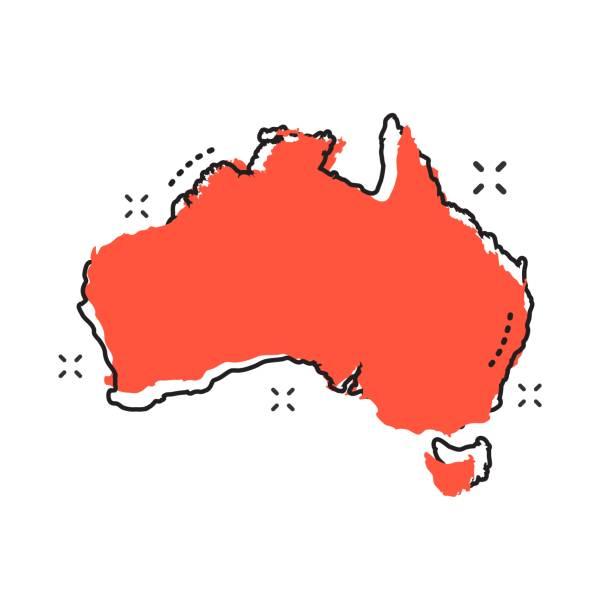 cartoon australia map icon in comic style. australia illustration pictogram. country geography sign splash business concept. - western australia stock illustrations