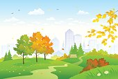 Vector cartoon drawing of a colorful autumn city park