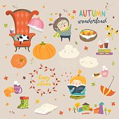 Vector cartoon set with cute autumn elements