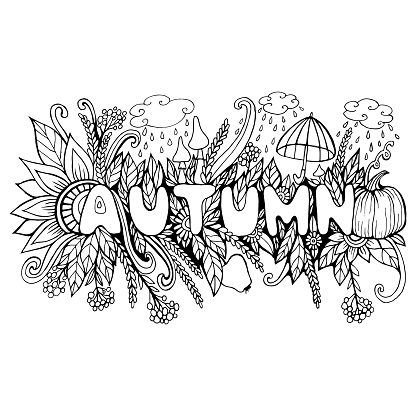 Cartoon Autumn Word With Doodle Elements Pumpkin Mushroom ...