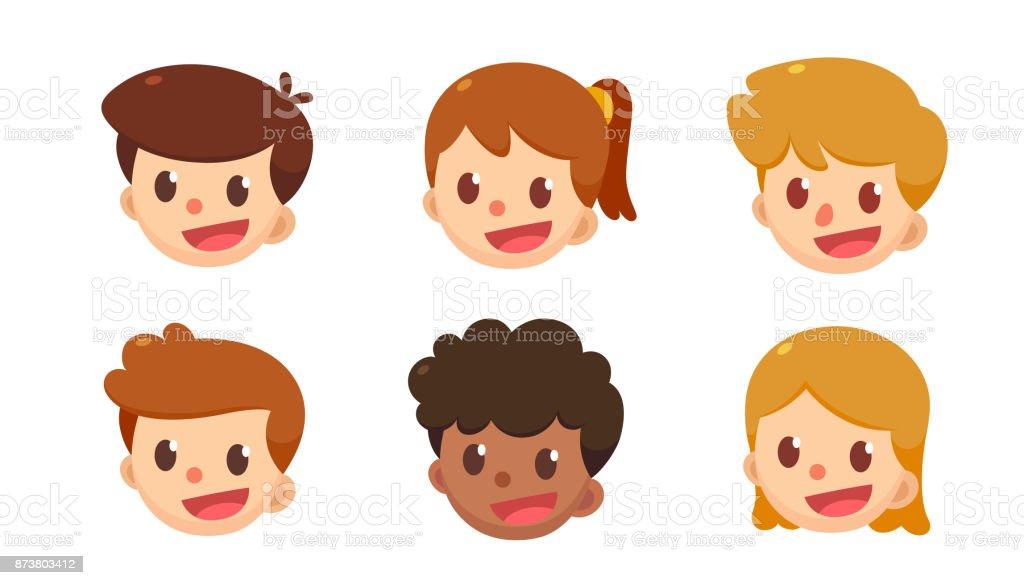 Para Niños De Dibujos Animados Caras Diferentes: Ilustración De Conjunto De Dibujos Animados Avatar Lindos