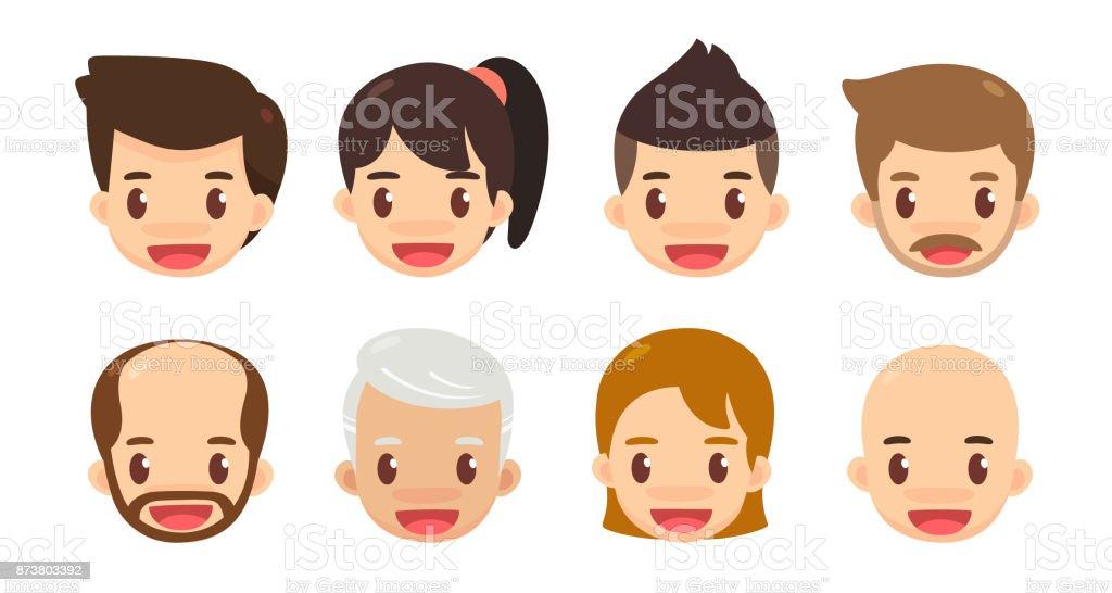 Para Niños De Dibujos Animados Caras Diferentes: Conjunto De Dibujos Animados Avatar Cute Hombres Y Mujeres