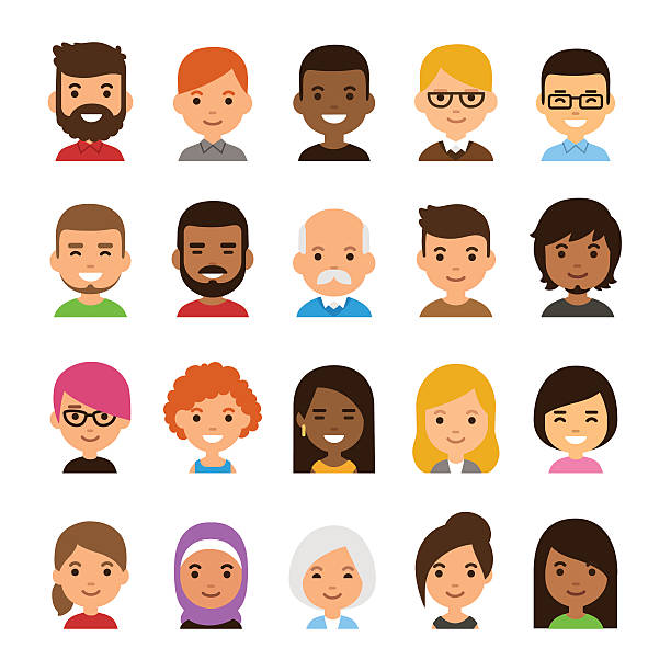 Cartoon avatar set Diverse avatar set isolated on white background. Different skin and hair color, happy expressions. Cute and simple flat cartoon style. caucasian ethnicity stock illustrations