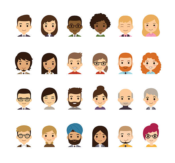 Cartoon Avatars Set of diverse avatars isolated on white. Different nationalities, clothes and hair styles. Cute and simple flat cartoon style. asian woman stock illustrations