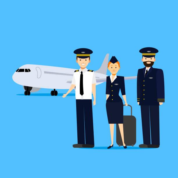 stockillustraties, clipart, cartoons en iconen met cartoon luchtvaart bemanningsleden. vector - stewardess