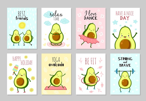 Cartoon avocado cards. Cute healthy food, baby party fun flyers. Positive inspirations text, green characters kids banners exact vector set