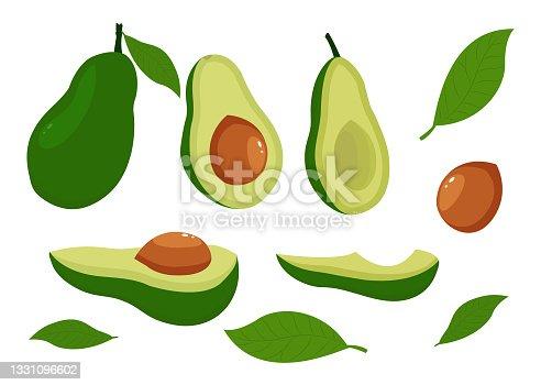 istock Cartoon avocado. Ripe avocados, healthy and nutritious organic foods and avocado slices. 1331096602