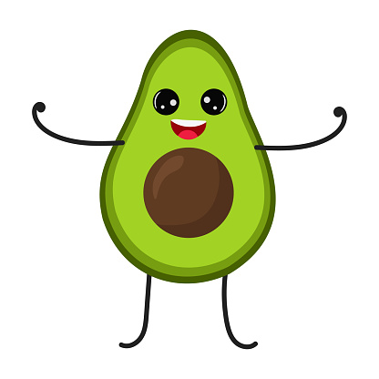 Cartoon avocado with cute face. Illustration with funny and healthy food. Isolated on white background. Vegan concept