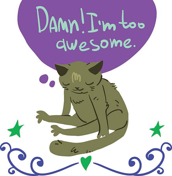 Cartoon awesome cat mascot. vector art illustration