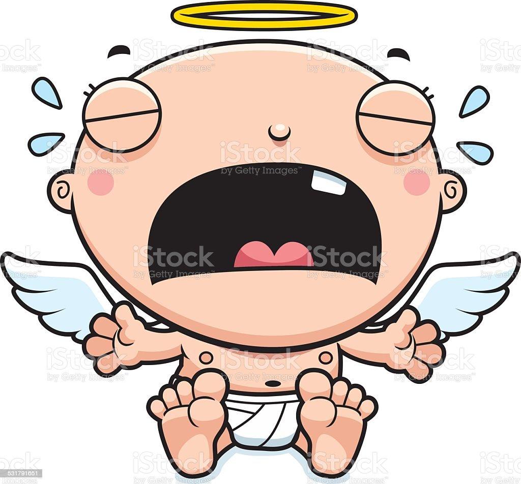 Cartoon Baby Angel Crying vector art illustration