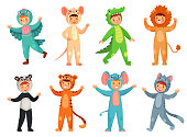 Cartoon baby animal costumes. Cute girl in panda costume, little boy in elephant suit and kids party mascot. Halloween, pajama or birthday party dress. Isolated vector illustration icons set