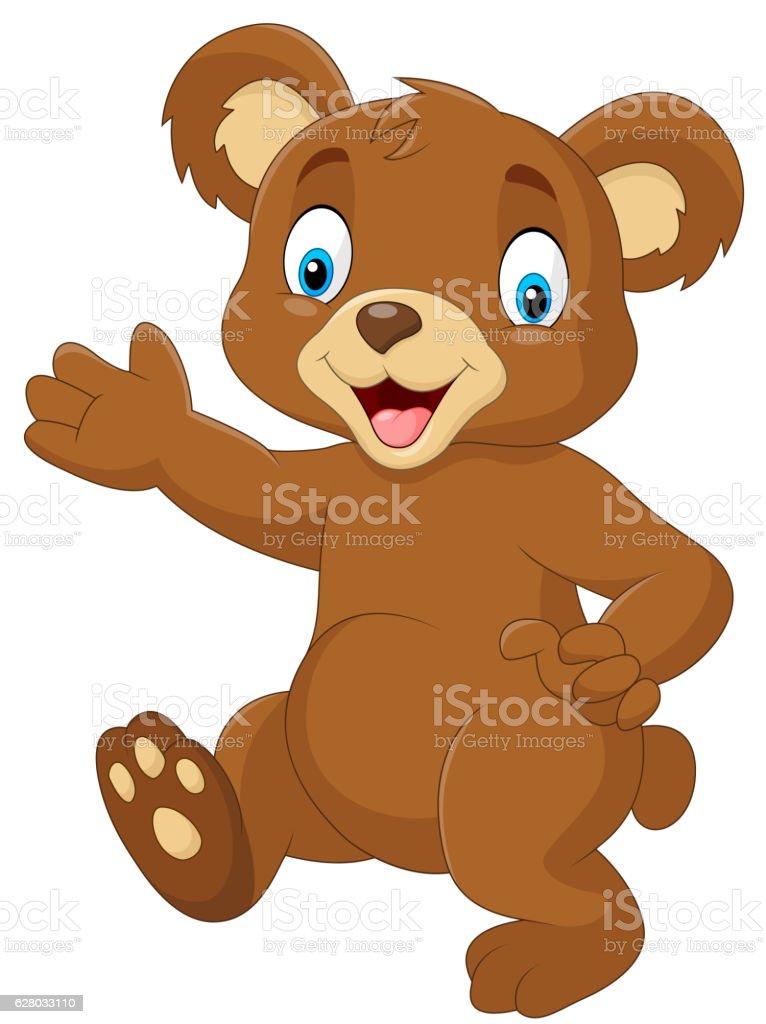 Cartoon baby bear waving hand vector art illustration