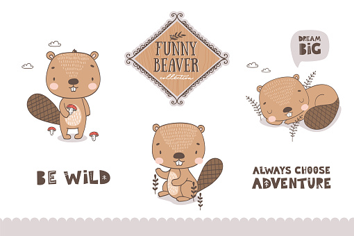 Cartoon baby beaver characters collection.