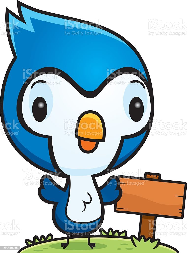 Cartoon Baby Blue Jay Wood Sign vector art illustration