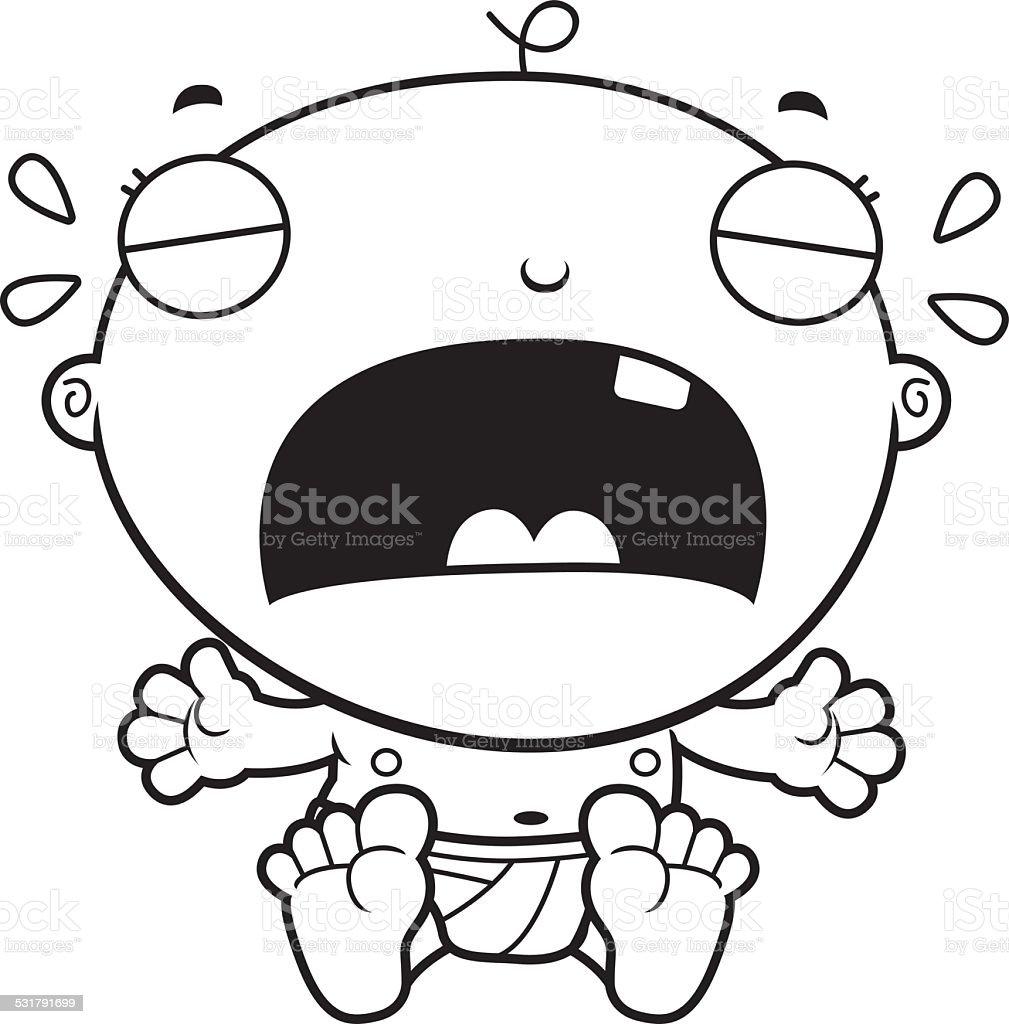 Cartoon Baby Boy Crying vector art illustration
