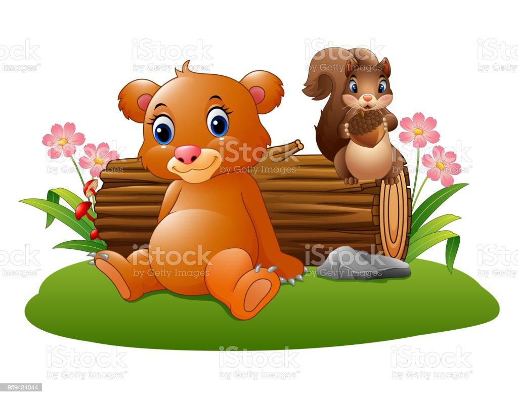 Ilustración De Dibujos Animados Bebé Oso Con Ardilla En El Bosque Y