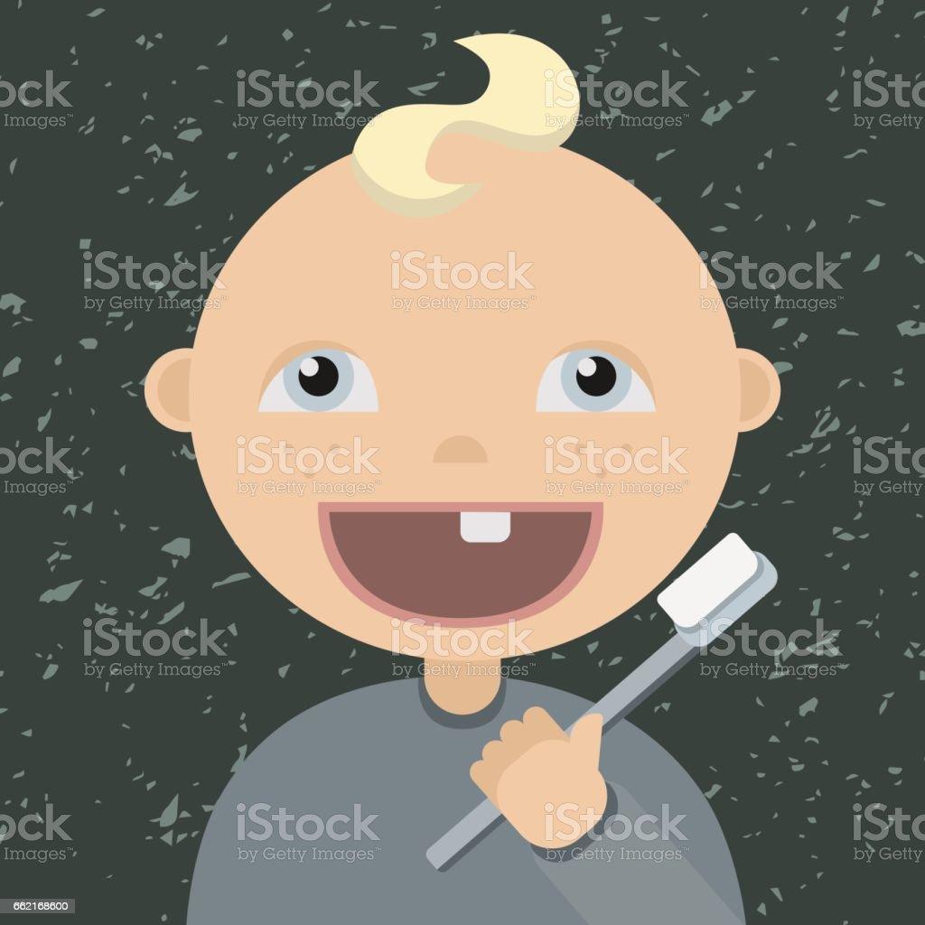 çizgi Film Bebek Diş Fırçalama Stok Vektör Sanatı Animasyon