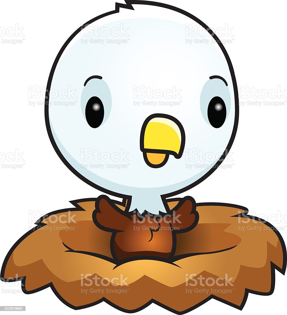 Cartoon Baby Eagle Nest vector art illustration