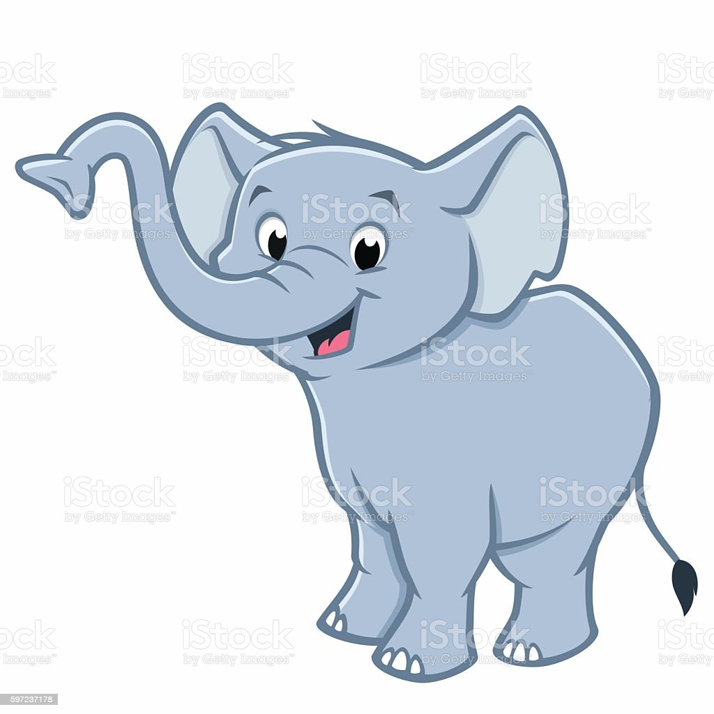 Smiling Baby Elephant Cartoon