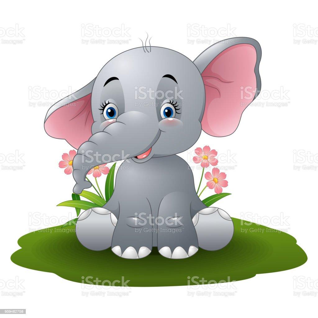 Ilustración De Dibujos Animados Bebé Elefante Y Más Banco De